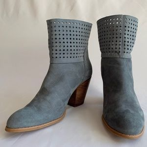 Nine West, Blue Perforated Suede Boots